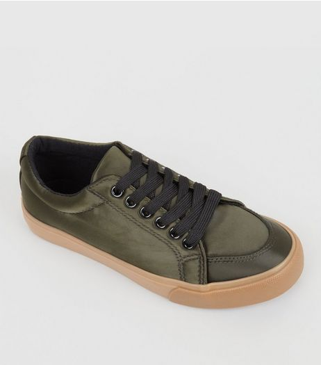 Teens Khaki Satin Trainers | New Look