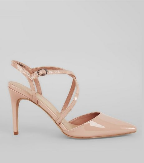 Nude Pink Patent Cross Strap Pointed Heels | New Look