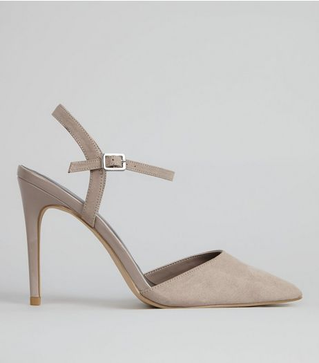 Grey Ankle Strap Pointed Court Shoes | New Look