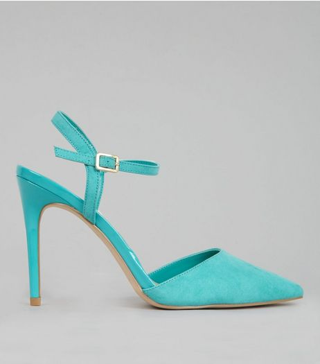 Green Ankle Strap Pointed Court Shoes | New Look