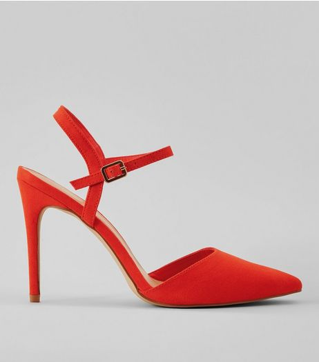 Orange Ankle Strap Pointed Court Shoes | New Look