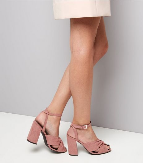 Wide Fit Pink Suedette Knot Front Flared Heel Sandals | New Look