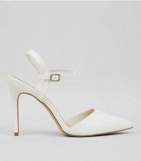 White Contrast Stripe Pointed Court Shoes | New Look