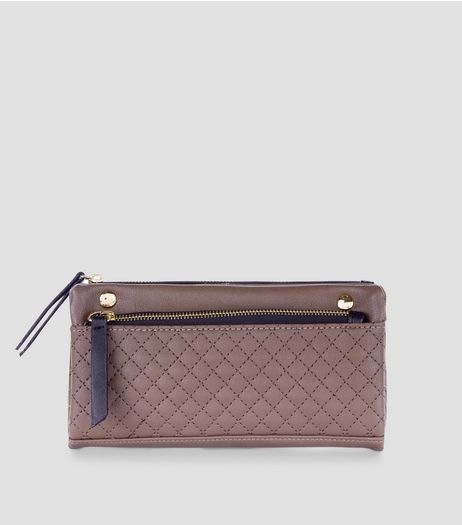 Khaki Quilted Slouchy Pocket Front Purse | New Look