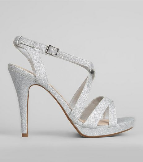 Silver Comfort Cross Strap Front Heels | New Look