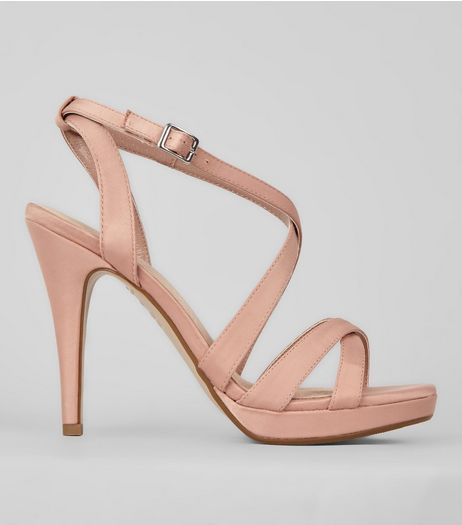 Pink Comfort Satin Cross Strap Heels | New Look