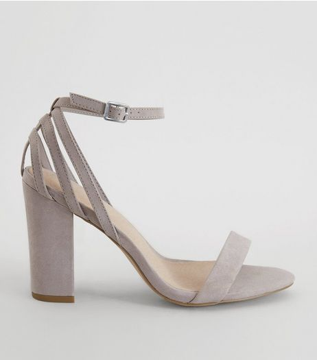 Grey Comfort Triple Strap Back Block Heels | New Look