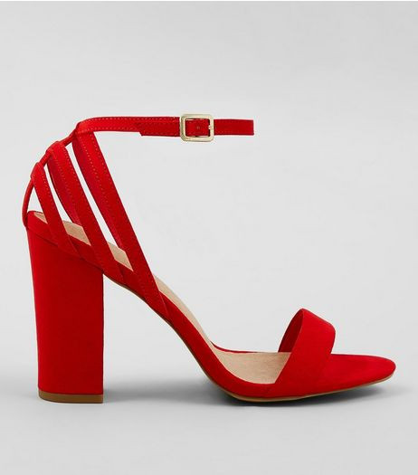 Red Comfort Suedette Triple Strap Back Block Heels | New Look