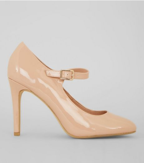 Nude Comfort Patent Strap Front Court Shoes | New Look