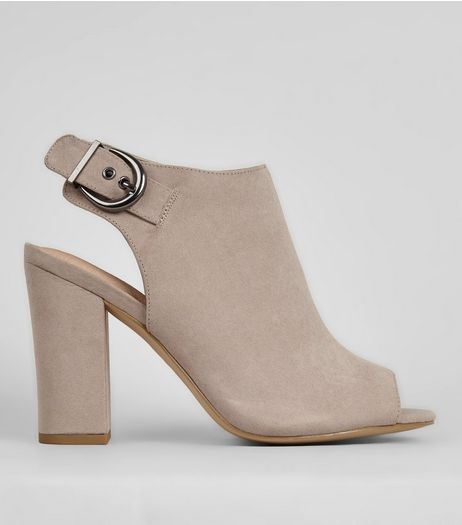 Grey Comfort Sling Back Buckle Strap Heels | New Look