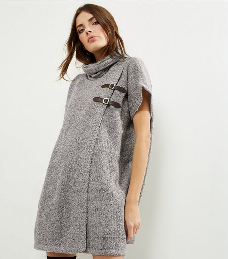 QED Pale Grey Cowl Neck Buckle Trim Poncho  | New Look