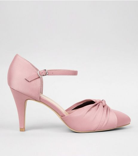Wide Fit Pink Sateen Knot Front Court Shoes | New Look