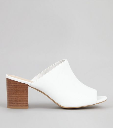 White Peep Toe Heeled Mules | New Look