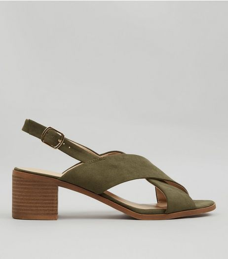Khaki Suedette Cross Strap Block Heels | New Look