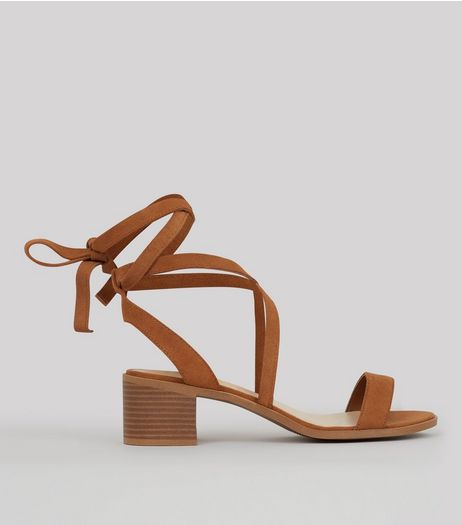 Tan Suede Tie Up Mini Block Heels | New Look