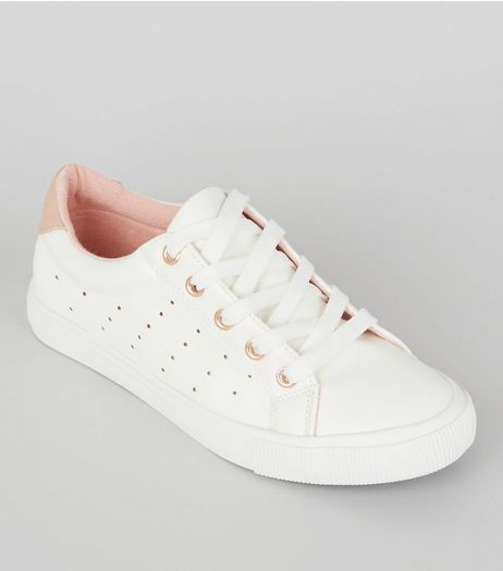 Teens White Contrast Trim Lace Up Trainers | New Look