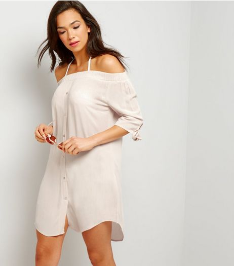 Shell Pink Bardot Beach Shirt | New Look