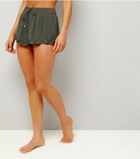 Khaki Frill Hem Beach Shorts | New Look