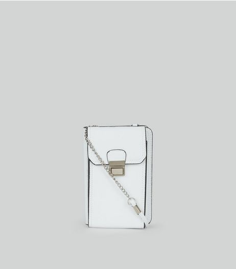 White Push Lock Camera Bag  | New Look