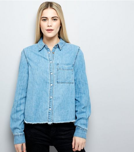 Blue Frayed Hem Denim Shirt | New Look