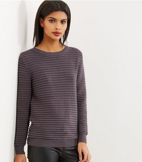 Apricot Grey Ribbed Long Sleeve Jumper  | New Look