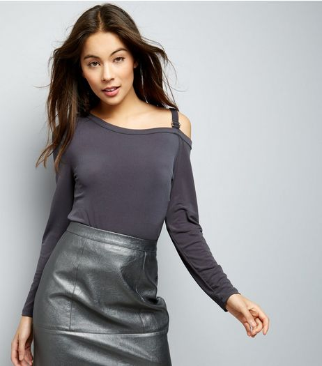 Grey Buckle Trim Cut Out Long Sleeve Top  | New Look