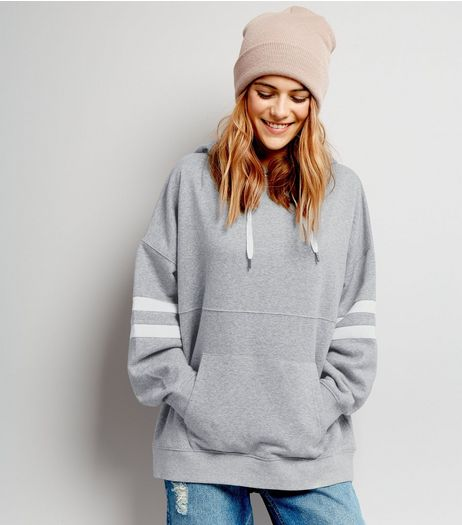 Grey Stripe Sleeve Hoodie  | New Look