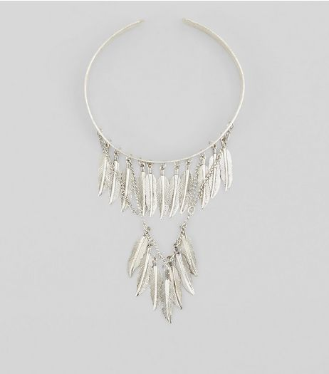 Silver Layered Feather Arm Cuff | New Look
