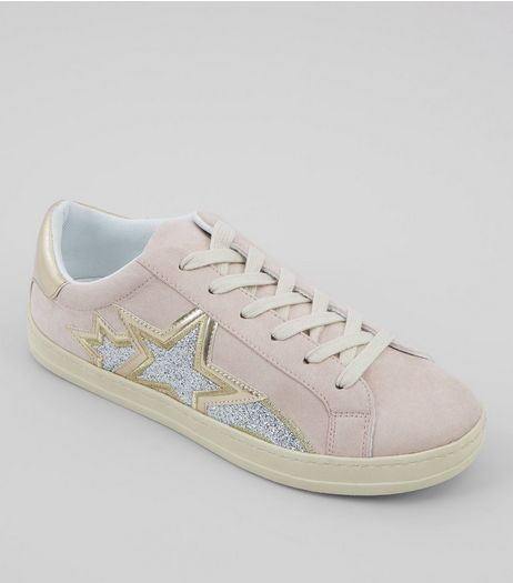 Pink Glitter Star Detail Trainers | New Look
