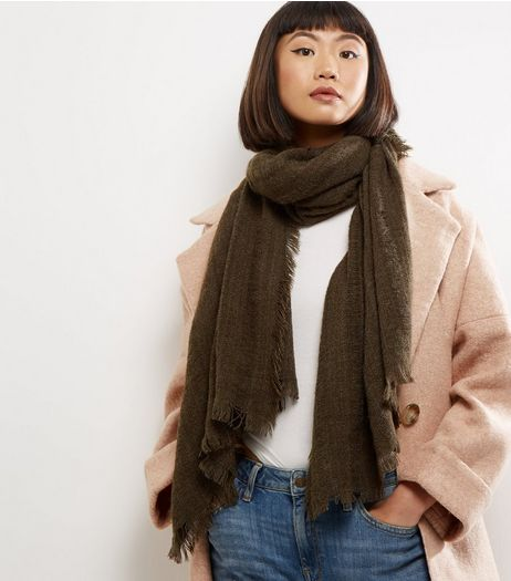 Khaki Distressed Frayed Scarf | New Look