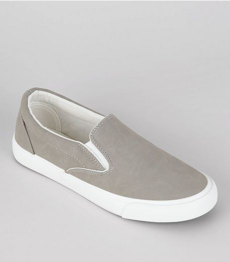 Grey Contrast Trim Slip On Plimsolls | New Look
