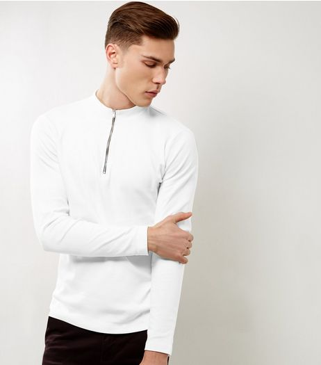 White Zip Front Turtle Neck Top | New Look