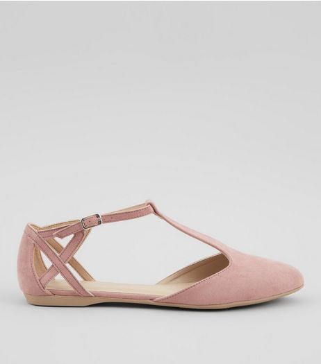 Pink Suedette Cross Strap Side Pumps | New Look