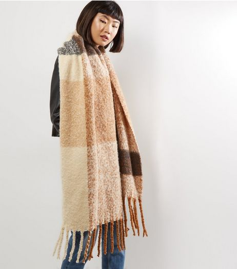 Brown Brushed Check Bouclé Textured Scarf | New Look