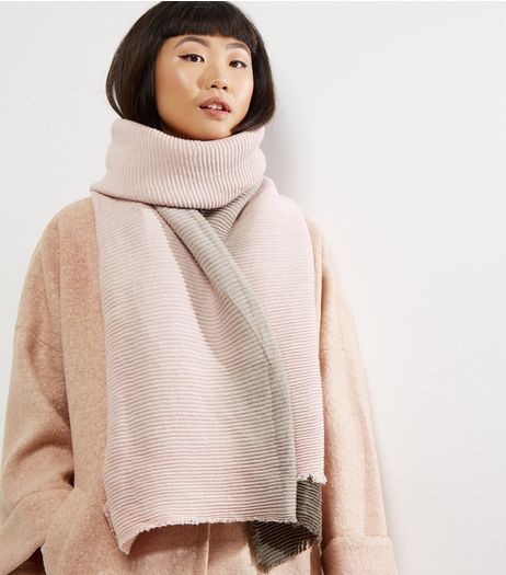 Pink Ribbed Ombre Scarf | New Look