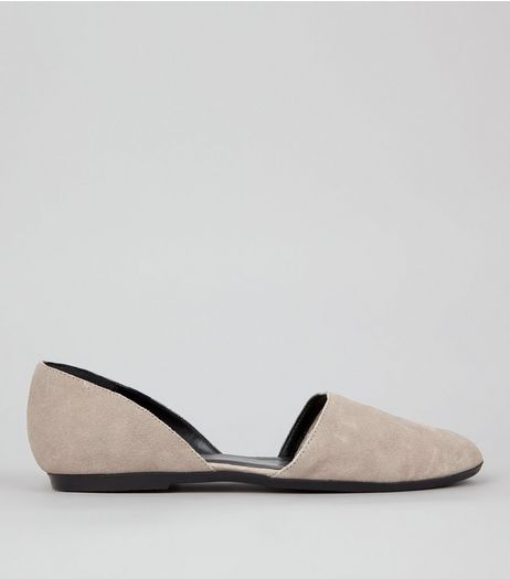 Grey Suede Cut Out Side Pumps | New Look