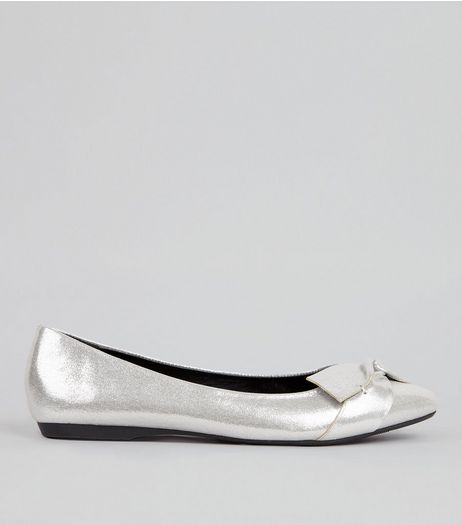 Silver Patent Knot Front Ballerina Pumps  | New Look