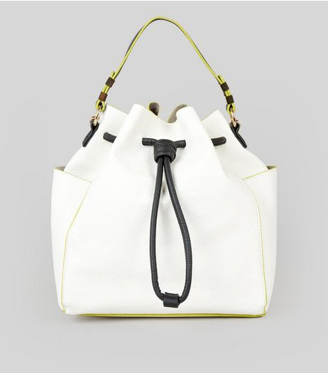 White Drawstring Duffle Backpack | New Look
