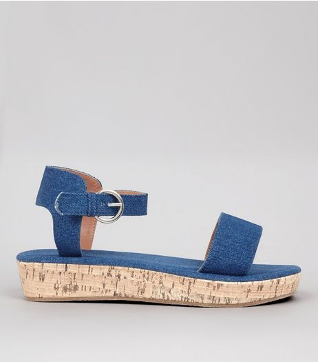 Blue Denim Cork Sole Sandals | New Look