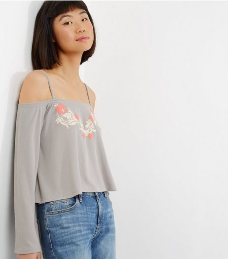 Carpe Diem Light Grey Floral Bardot Neck Top  | New Look