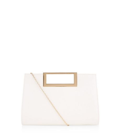 White Square Metal Handle Clutch | New Look