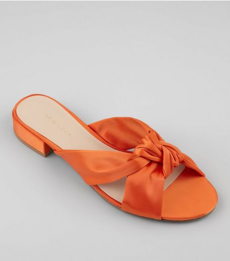 Orange Satin Knot Front Mules | New Look