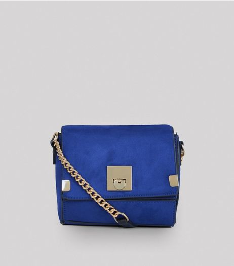 Blue Suedette Cross Body Box Bag | New Look