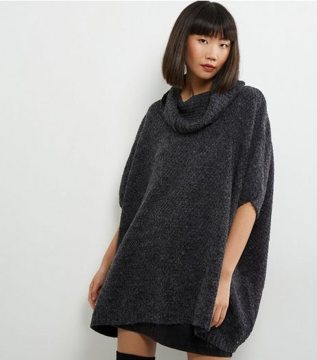 QED Grey Turtle Neck 1/2 Sleeve Poncho  | New Look