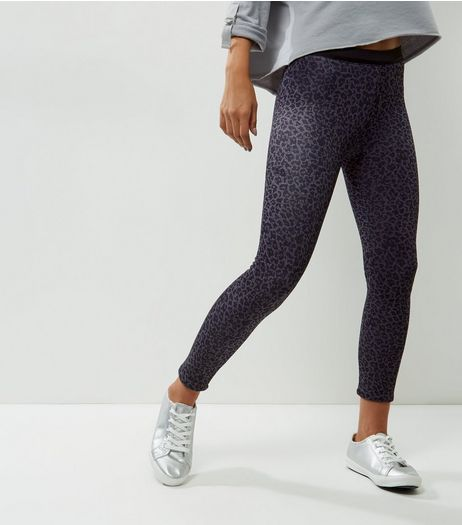 QED Light Grey Leopard Print Fleece Lined Leggings  | New Look