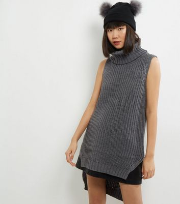 Product photo of Qed pale grey cowl neck sleeveless tunic