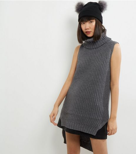 QED Pale Grey Cowl Neck Sleeveless Tunic  | New Look