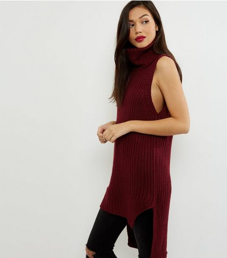 QED Red Cowl Neck Sleeveless Tunic  | New Look