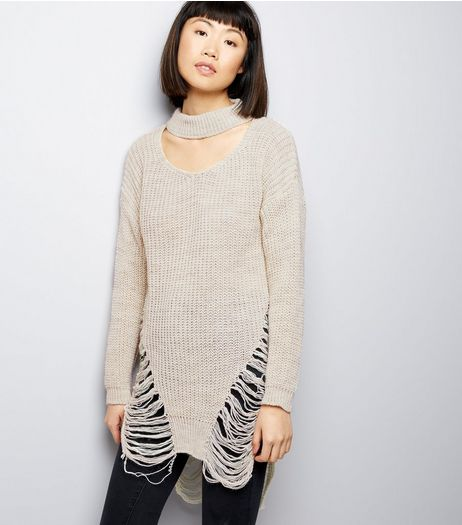 QED Stone Choker Neck Ladder Jumper | New Look