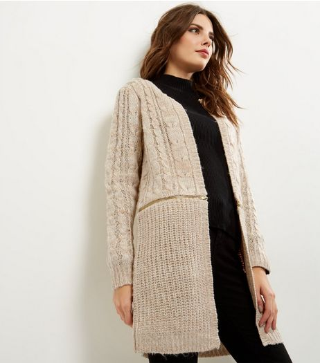 QED Cream Cable Knit Zip Trim Cardigan  | New Look